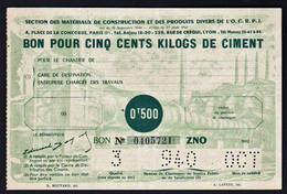 FRANCE Bons De Nécessité: RARE Bon Pour 500 Kg De Ciment (0T 500) Date:1943. Etat NEUF - Bonos