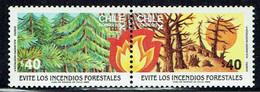 Chile / Chili 1985, Feuerwehr, Waldbrandverhütung / Forest Fire Prevention, MiNr. 1109 - 1110 - Feuerwehr