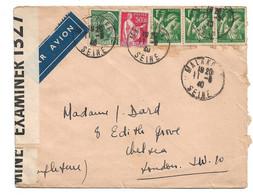(C14) - Y&T N°283+411+432 - LETTRE AVION CENSUREE MALAKOFF => UK 1940 TARIF 1-20 GRS DU 03/11/1939 - Storia Postale