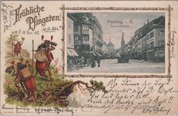 Freiburg I. B. - Kaiserstrasse (Fröhliche Pfingsten) - Passe-partout, (used, 1902) - Freiburg I. Br.