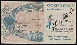 FRANCE Bons De Nécessité: RARE Billet Fictif Publicitaire: 500F Type Bleu Et Rose 1920 (entre 1920/29) ..... - Bonos