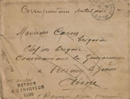 """L. Avec Contenu De CANNES Du 30-6-19 à Gendarmerie De FRESNOY-LE-GRAND + """"Adresse Inconnue"""" + """"Retour à L'envoyeur 1590"""" - Oorlog 1914-18"""