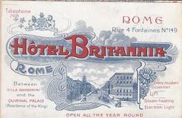 ROMA-HOTEL=BRITANNIA=CARTOLINA QUADRUPLA-NON VIAGGIATA 1910-1920 - Bares, Hoteles Y Restaurantes