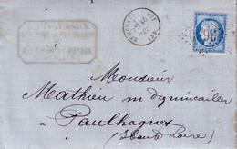 ALLIER - ST GERAND LE PUY  - CERES - N°60 - OBLITERATION GC3630 - DU16 MARS 1874  - BUREAU DE PASSE 2565 AU VERSO - ENTE - 1849-1876: Classic Period