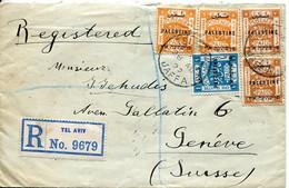 62239 Palestine, Cover Registered 1922 From Tel Aviv To Switzerland - Palestina