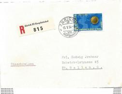 123 - 84 - Enveloppe Recommandée Avec Timbre WM Football 1954 - Cachet Zürich Hauptbahnhof - Léger Pli Au  Milieu - Storia Postale