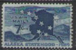 STATI UNITI D'AMERICA POSTA AEREA 1959 AMMISSIONE DELL'ALASKA NELLA CONFEDERAZIONE UNIF. A53 USATO VF - 2a. 1941-1960 Usados