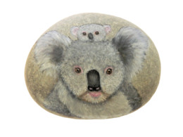 Original Painting Of A Koala Bear And Baby On A Smooth Beach Stone Paperweight - Briefbeschwerer