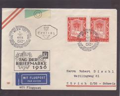 FDC  1.12.1956  Mit Flugpost Wien - Zürich - 1945-60 Covers