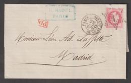 Affranchissement à 80c Oblitéré étoile 1 Sur Lettre De Paris  Pour Madrid - 1863-1870 Napoléon III. Laure