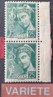 R1491/37 - 1938/1941 - TYPE MERCURE - N°411b NEUF** - SUPERBE VARIETE ➤➤➤ Impression Sur Raccord Avec Sonnette - Variétés: 1931-40 Neufs