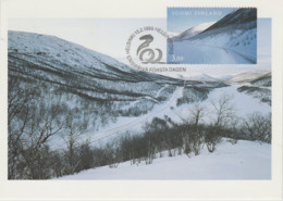 CM Finlande Entier Postal Finland Maximum Card Postal Stationery 1999 Snowplow Snowy Road Utsjoki Chasse Neige Route - Cartas
