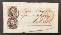 Medaillon 6 In Verticaal Paar Op Brief 23 NOV 1853 P133 YPRES - MONS - 1851-1857 Medallones (6/8)