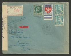 Petain - Mercure & Blason / Recommandée SEREILHAC - HAUTE VIENNE 24.11.1944 >>> SUISSE / CENSURE - Oorlog 1939-45