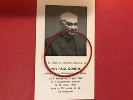Chère Et Vénérée Memoire Du Père Paul Goreux Prêtre Compagnie De Jesus *1899 Jauche +1978 Jauche Orp-Jauche Photo - Décès