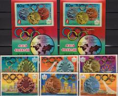 Olympiade Gewinner 1976 Corea 1583/8+Blöcke 36/7 ** 94€ Stadion Medaillen Montreals Blocs Overprint Sheets Bf Coree - Korea (Noord)