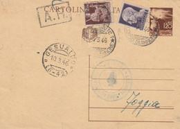 INTERO POSTALE L1,20+ 1 L LUOGOTEN. +2 L. Piega Centrale TIMBRO GESUALDO 1946 (HC681 - Marcofilie