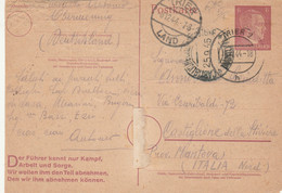 INTERO POSTALE GERMANIA 1944 DIRETTO ITALIA SPEDITO 8-12-44 ARRIVA 25-9-45 TIMBRO CASTIGLIONE -piega Centrale (HC814 - Postales - Usados