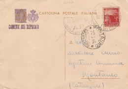 CARTOLINA POSTALE 1946 CAMERTA DEI DEPUTATI SS L.3 TIMBRO MONTAURO CATANZARO (HC820 - 1946-60: Marcofilia
