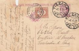 INTERO POSTALE C.25 1922 + SEGNATASSE 10 C. -TIMBRO TIZZANA CASALECCHIO-strappo In Alto (HC838 - Entiers Postaux