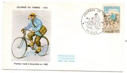 FDC --1972--Journée Du Timbre --Facteur Rural à Bicyclette ( Vélo ) -- Cachet  NICE - 06 - 1970-1979