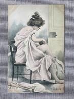 Illustrateur Henri Boutet. Serie Le Bain Nº8. Art Nouveau, Jugendstil. - Boutet