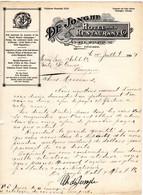 Facture De 1909  DE JONGHE Hotel And Restaurant Co MONROE ST CHICAGO  ETATS UNIS - Etats-Unis