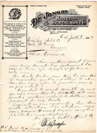 Facture De 1909  DE JONGHE Hotel And Restaurant Co MONROE ST CHICAGO  ETATS UNIS - Estados Unidos