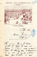 Facture Lettre De 1891 HOTEL DES CHARMILLES VICHY A. TIXIER Propriétaire - 1800 – 1899