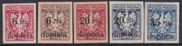 POLAND 1921 Postage Due Fi D32-36 Mint - Unused Stamps
