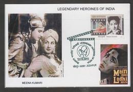 India  2011  Legendry Herione  Actress Meena Kumari & Actor Bharat Bhushan  Max CArd   #  31657 D  Inde  Indien - Cartas
