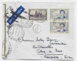 COTE D'IVOIRE 2F25 PAIRE +55C LETTRE AVION ABIDJAN 10 JIN 1940 POUR SUISSE CENSURE AEF - Briefe U. Dokumente
