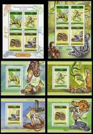 République Démocratique Du Congo - 2805/2808 (BL809) + BL810/813 + BL814 - Serpents - 2013 - MNH - Mint/hinged