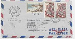 TAPISSERIE 25FRX2+10FR ROYAN LETTRE AVION PARIS 128 5.10.1954 POUR GUATEMALA AU TARIF - 1921-1960: Modern Period