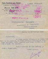 EMA HAVAS A 1207 DOUBLE VALEUR 25 C + 15 C : RENÉ SUZÉ _ S.A.R.L. 15 RUE DES TROIS BORNES PARIS-XIe – PARIS 46 29 OCT 28 - Freistempel