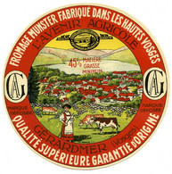 Etiquette Ancienne : Fromage, Munster Avenir Agricole Gérardmer Hautes Vosges 88  45% MG - Formaggio