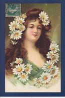 CPA Femme Buste Circulé Fleurs Marguerites - Women