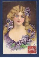 CPA Femme Buste Circulé Fleurs Violettes - Mujeres