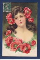 CPA Femme Buste Circulé Fleurs Coquelicots - Mujeres