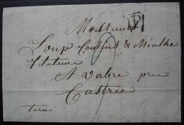 1827 Lettre De Paris, Marque P Pour Loup Cousins Et Miahle à Vabre, Près Castres (Tarn) - 1801-1848: Precursors XIX