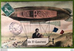 CPA - Saint-Laurent (Médoc) - Un Baiser De St-Laurent - Dirigeable - 2 Scans - Dirigibili