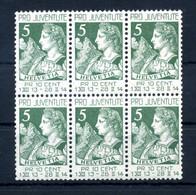 1913 SVIZZERA N.137 SET MNH ** BLOCCO DI 6 Pro Juventute - Nuevos
