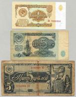 Russie - 1 - 5 Roubles 1961 1938 Lot 3 Billets - Russie
