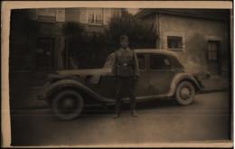 Soldaten-Portrait, Kraftfahrer Am PKW, Foto-Postkarte, Carte Postale, Militär, Deutsche Wehrmacht - War 1939-45