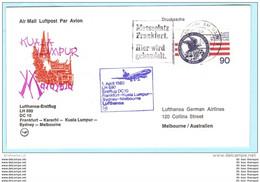 BERLIN 562 Emblem BUND BRD Brief Cover Erstflug FFC LH 690 Frankfurt /Main - Melbourne 01.04.1980 (2 Scan)(30941) - Altri (Aria)