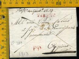 Piego Con Testo Varese P.P Per Oggiono Lecco - 1. ...-1850 Prephilately