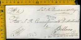 Piego Con Testo Venezia  Per Bellano Lecco - 1. ...-1850 Prephilately