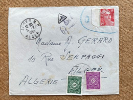 Enveloppe Affranchie Type Gandon Oblitération Alger 1950 Et Timbres Taxe Algérie - Impuestos