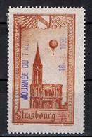 """France / """" Journée Du Timbre """" / Strasbourg 1938 ( Sur Vignette Journée D'Aviation, Ballon Monté De 1927 ) - Briefmarkenmessen"""