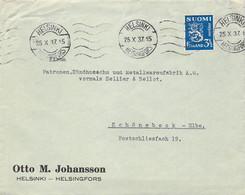 MiNr. 205 EF Auf Cover Helsinki - Schönebeck Elbe 1937 - Cartas